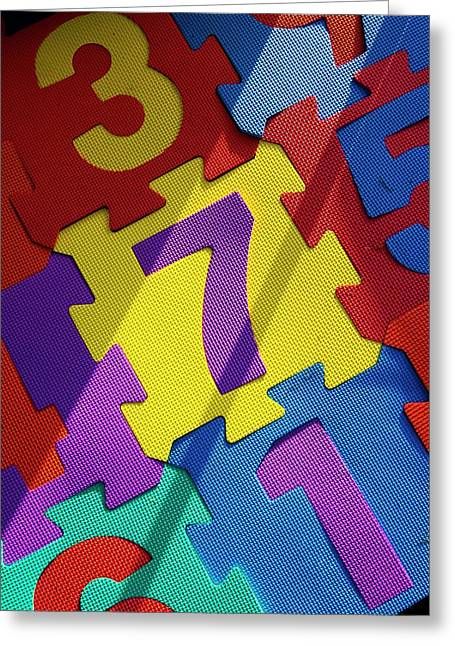 Numbered Tiles Greeting Card by Mark Williamson