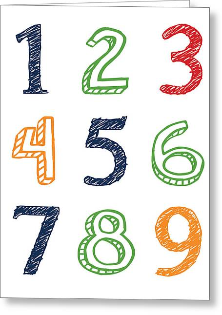 Numbers 123 Greeting Card