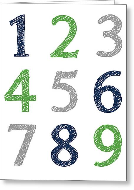 Greeting Card featuring the digital art Numbers 123 Poster by Jaime Friedman