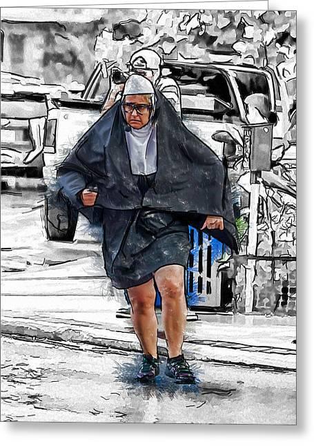 Nun On The Run Greeting Card by John Haldane