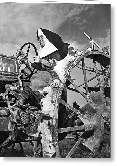 Nun Runs Tractor On Farm Greeting Card by Underwood Archives