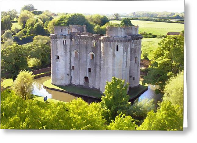 Nunney Castle Painting Greeting Card