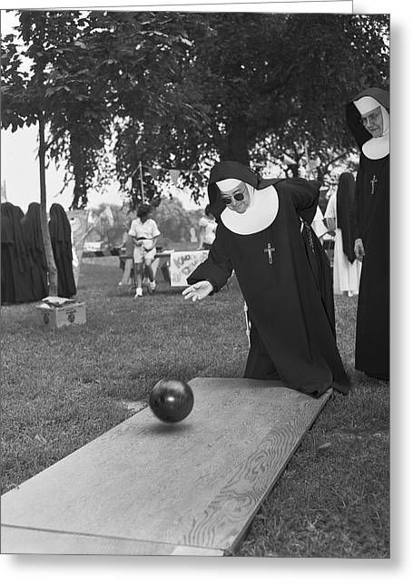 Nuns Bowling Greeting Card
