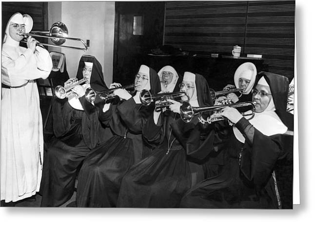 Nun greeting cards fine art america nuns rehearse for concert greeting card m4hsunfo