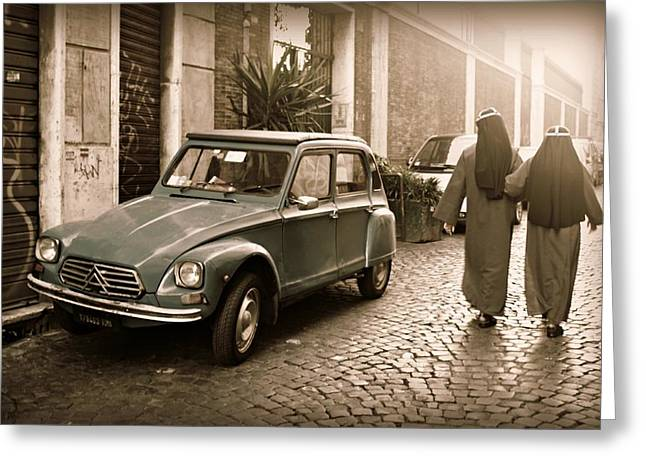 Nuns With Vintage Car Greeting Card