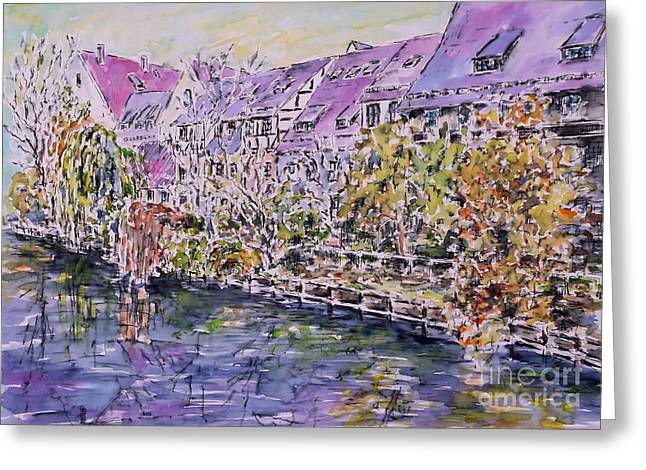 Nuremberg Northern Riverside Of Pegnitz Greeting Card by Alfred Motzer