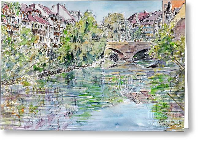 Greeting Card featuring the painting Nuremberg River Pegnitz Watching Charles Bridge by Alfred Motzer
