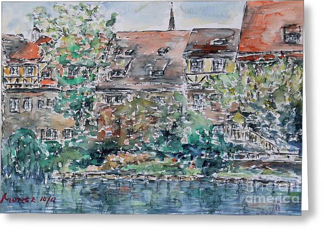 Greeting Card featuring the painting Nuremberg Southern Riverside Of Pegnitz by Alfred Motzer