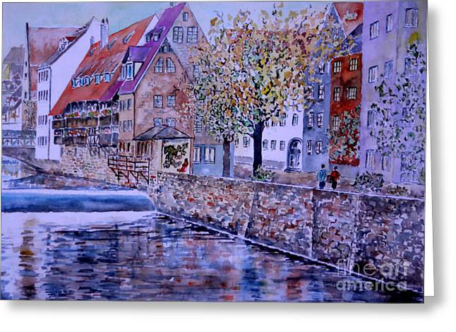 Greeting Card featuring the painting Nuremberg Walk By The Riverside by Alfred Motzer