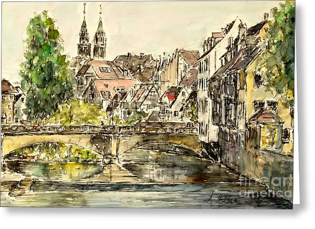 Greeting Card featuring the painting Nuremberg Watching St.laurence Cathedral by Alfred Motzer