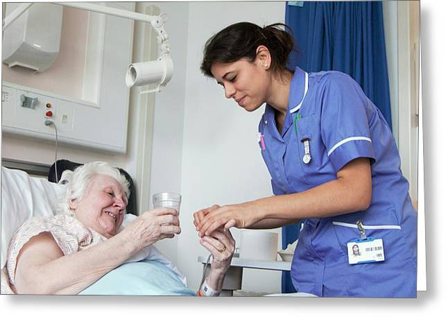 Nurse And Patient On Hospital Ward Greeting Card by Life In View