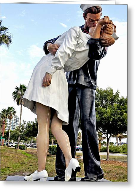 Nurse And Sailor Kissing Statue Unconditional Surrender Daytime  Greeting Card