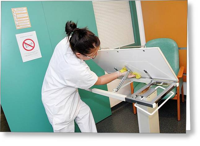 Nurse Cleaning Hospital Table Greeting Card by Aj Photo/science Photo Library