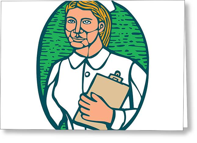 Nurse Holding Clipboard Oval Woodcut Linocut Greeting Card
