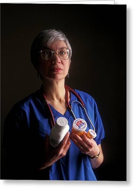 Nurse With Anti-hiv Medications Greeting Card by Jim West