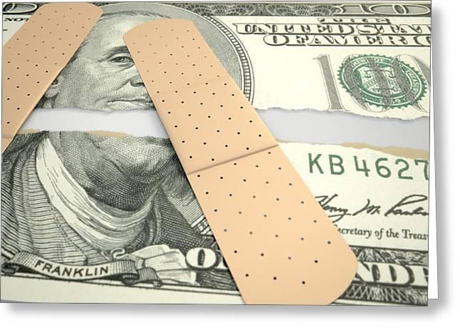 Nursed Torn Us Dollar Greeting Card by Allan Swart