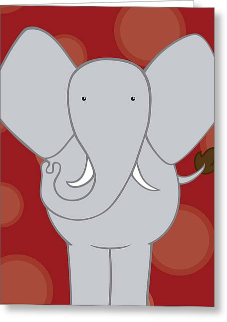 Nursery Art Elephant Red Greeting Card by Christy Beckwith