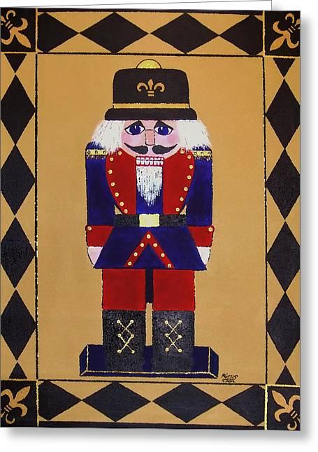 Nutcracker Floor Cloth Sgt. Blue Greeting Card by Cindy Micklos