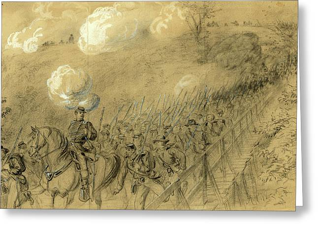 N.y. 14th Heavy Artillery Crossing Chesterfield Bridge Greeting Card