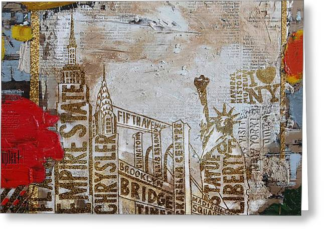 Ny City Collage 7 Greeting Card by Corporate Art Task Force