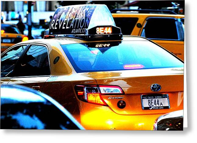 Ny City Taxi Cab At Twilight Manhattan Greeting Card by Ron Bartels
