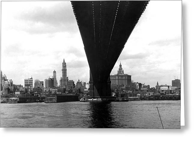 Ny Skyline From Brooklyn Greeting Card by Underwood Archives