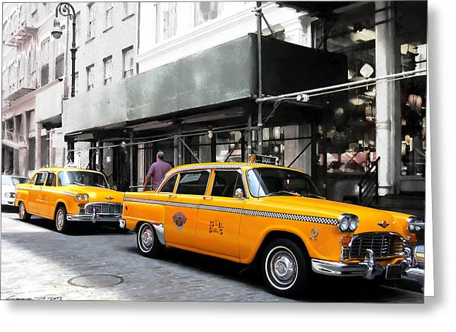 Ny Streets - Yellow Cabs 1 Greeting Card by Gabriel T Toro