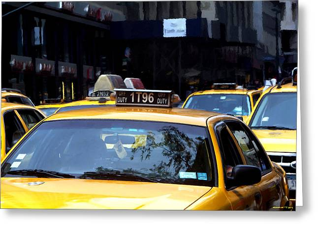 Ny Streets - Yellow Cabs 2 Greeting Card by Gabriel T Toro