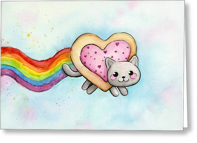 Nyan Cat Valentine Heart Greeting Card by Olga Shvartsur