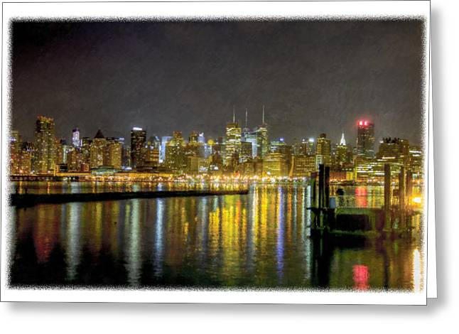 Nyc At Night Faux Oil Greeting Card