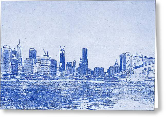 Nyc Blueprint Greeting Card by Celestial Images