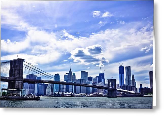 Nyc Brooklyn Bridge City Greeting Card by Alex Pochinok