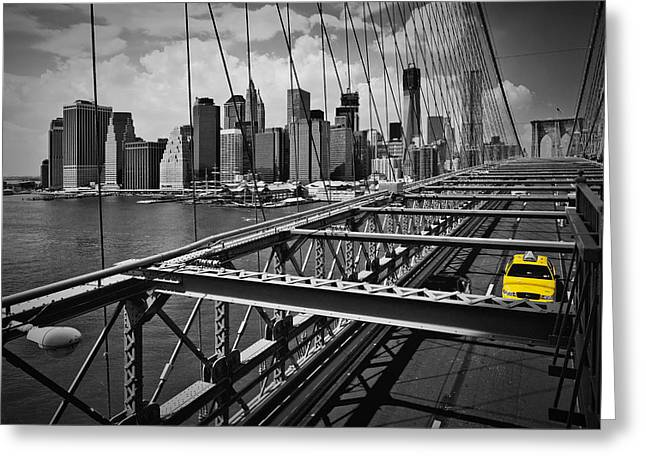 Nyc Brooklyn Bridge View Greeting Card by Melanie Viola