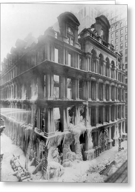 Nyc, Equitable Life Assurance Fire Greeting Card by Science Source