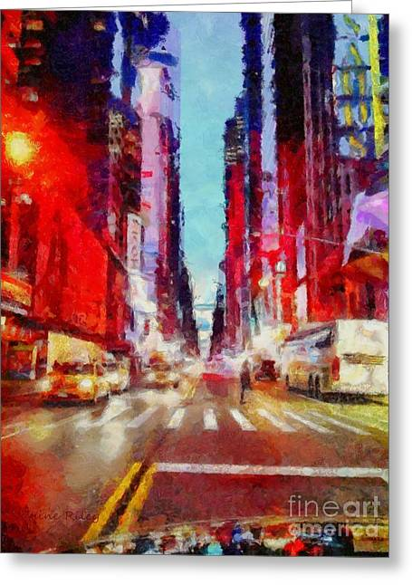 Nyc Fifth Ave Greeting Card by Janine Riley