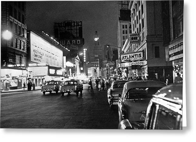 Nyc great White Way Outage Greeting Card by Underwood Archives