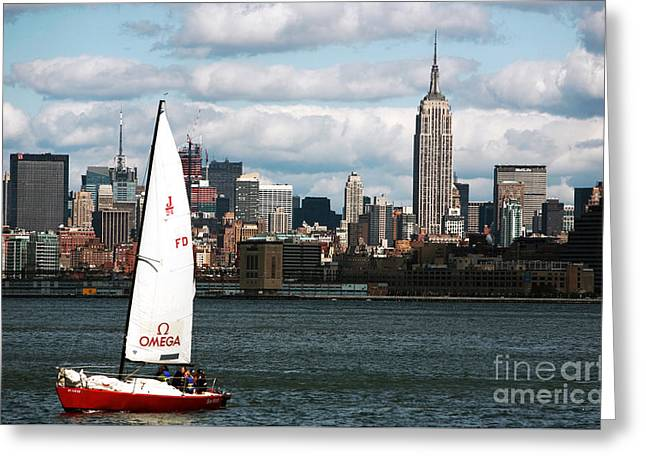 Nyc Harbor View Greeting Card by John Rizzuto