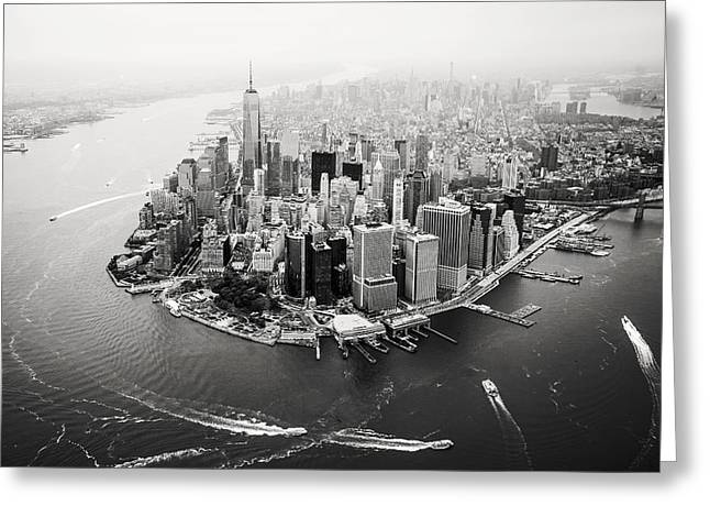 Nyc Manhattan Aerial Greeting Card by Nina Papiorek