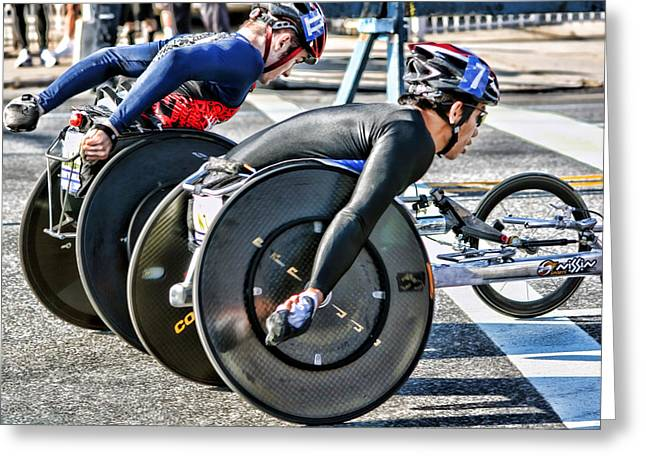 Nyc Marathon Wheelchair Racers Greeting Card by Terry Cork