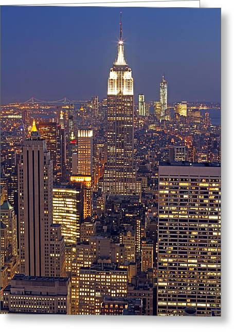 Nyc Midtown And Downtown Greeting Card by Juergen Roth
