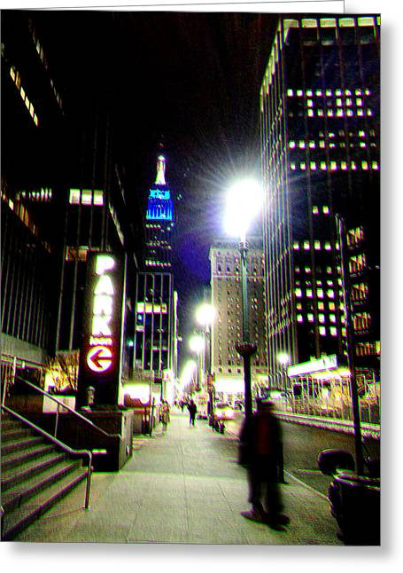 Nyc Night Walk Greeting Card by Li   van Saathoff