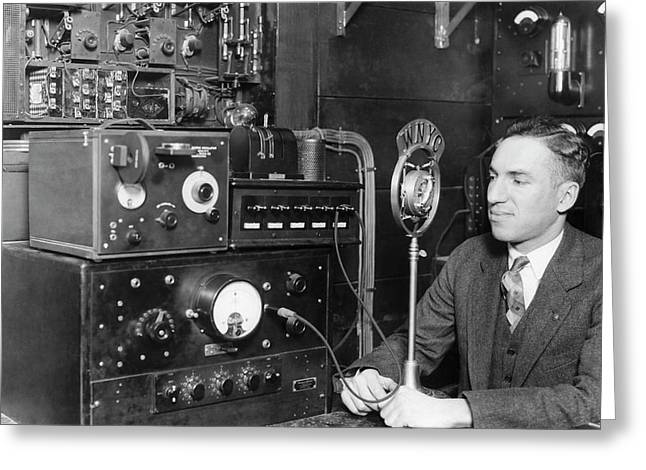 Nyc Police Radio System Greeting Card by Underwood Archives