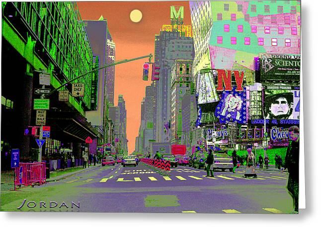 Nyc Port Authority And 42nd Greeting Card by David Jordan