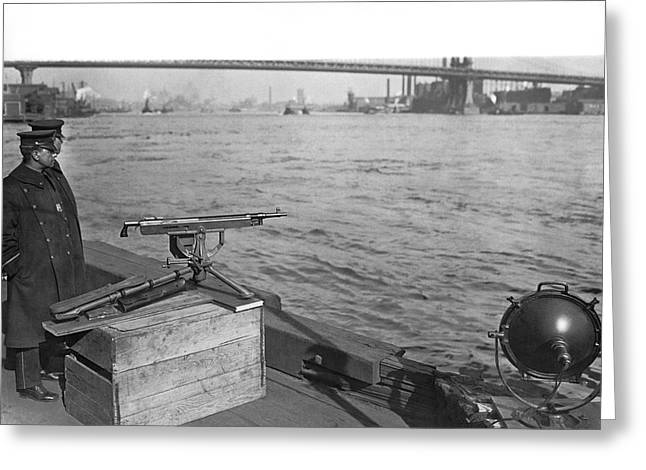 Nyc Prohibition Police Boat Greeting Card