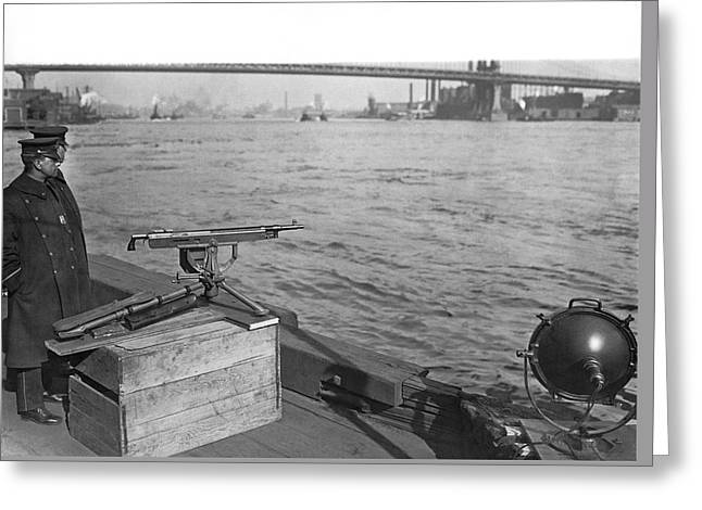 Nyc Prohibition Police Boat Greeting Card by Underwood Archives