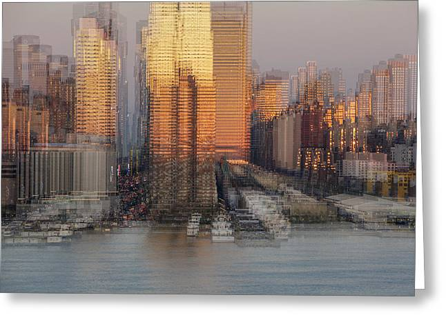Nyc Skyline Shapes Greeting Card by Susan Candelario