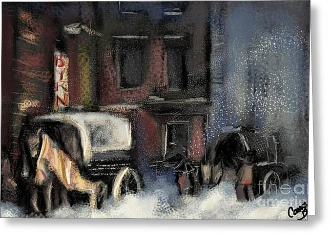 Nyc Snow 1910 Greeting Card by Carrie Joy Byrnes