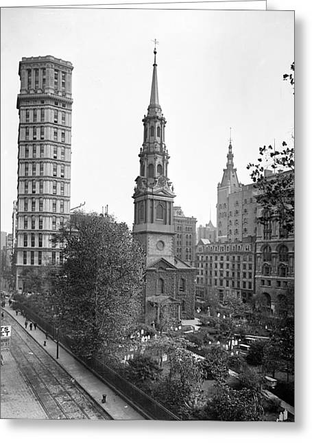 Nyc, St. Paul Building And Episcopal Greeting Card by Science Source
