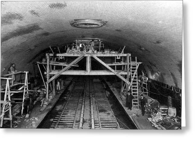 Nyc Subway Construction, 1906 Greeting Card by Science Source