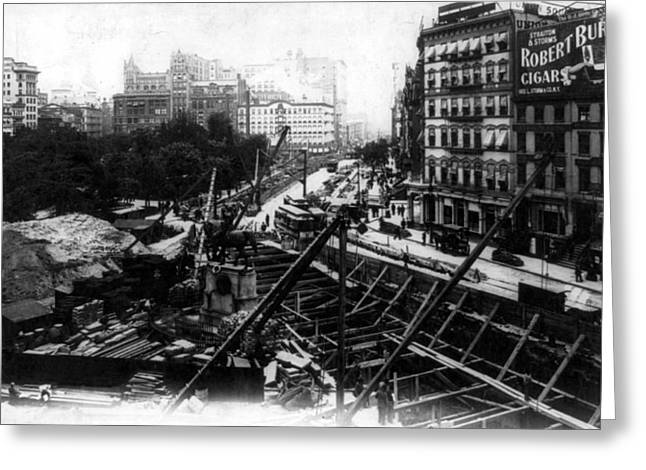 Nyc Subway Construction, Union Square Greeting Card by Science Source
